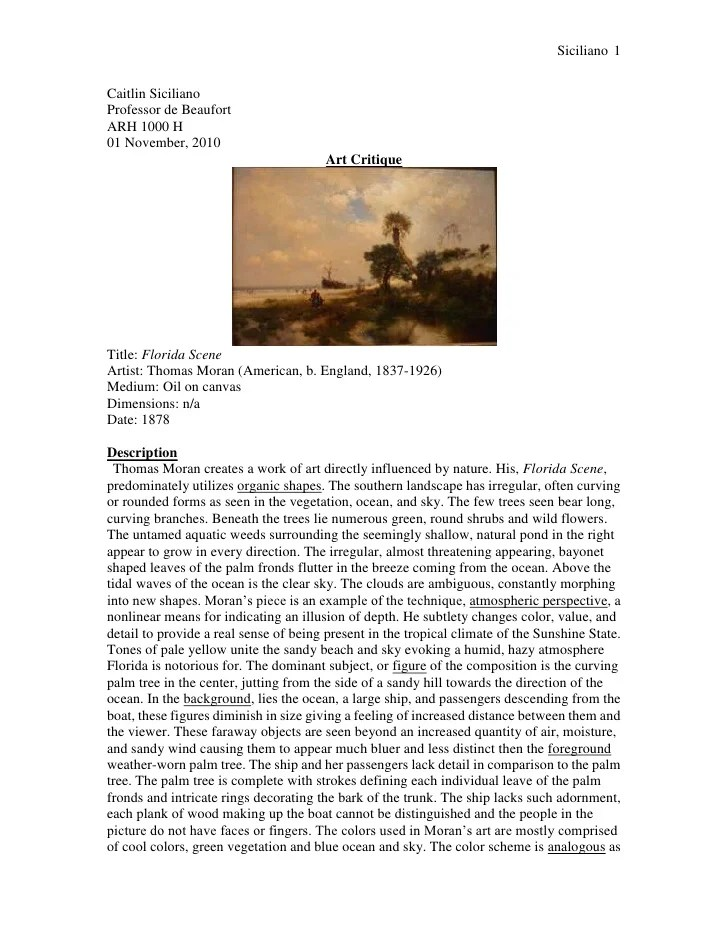 Art Essay Examples Art Criticism Student Example How To Quote In A