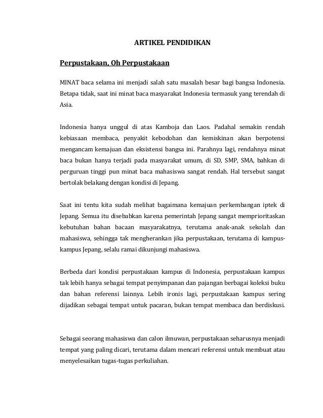 Contoh Artikel Pendidikan Di Indonesia Saat Ini Contoh Diam Cute766