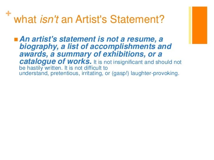 Sample Artist Statement
