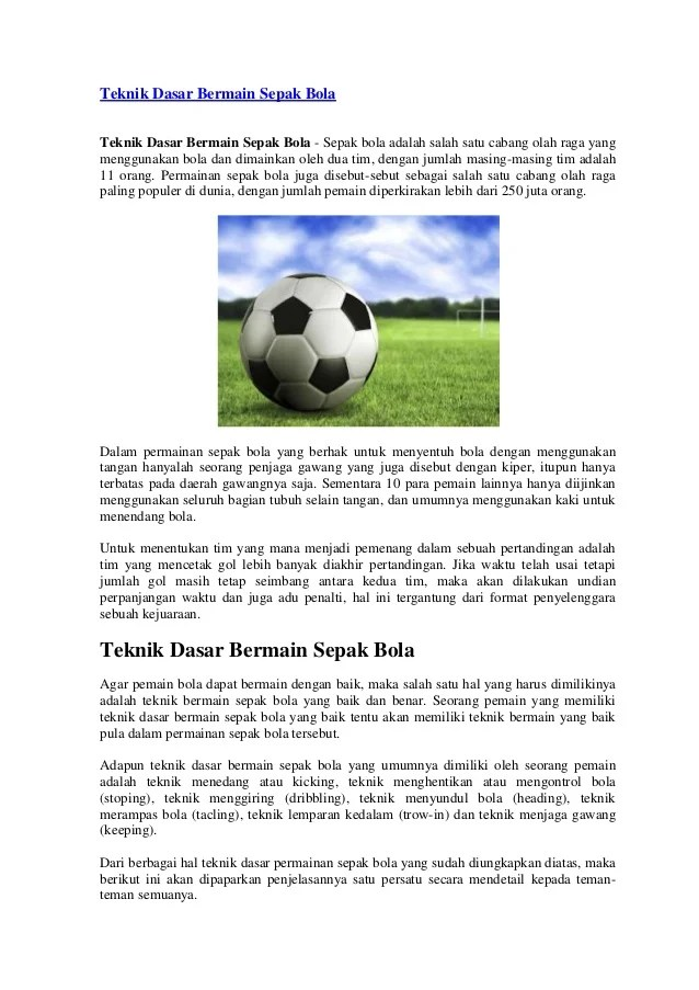 Materi Sepak Bola : Pengertian, Sejarah, Teknik Dasar & Peraturan