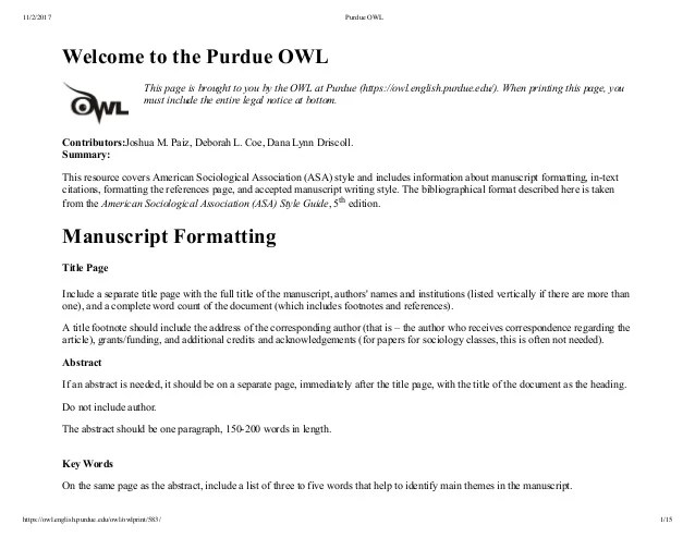 ASA Format By Purdue Owl