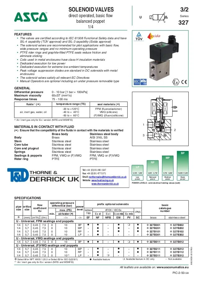 asco solenoid valve 8210 wiring diagram ethernet wall socket atex valves - 327 series spec sheet
