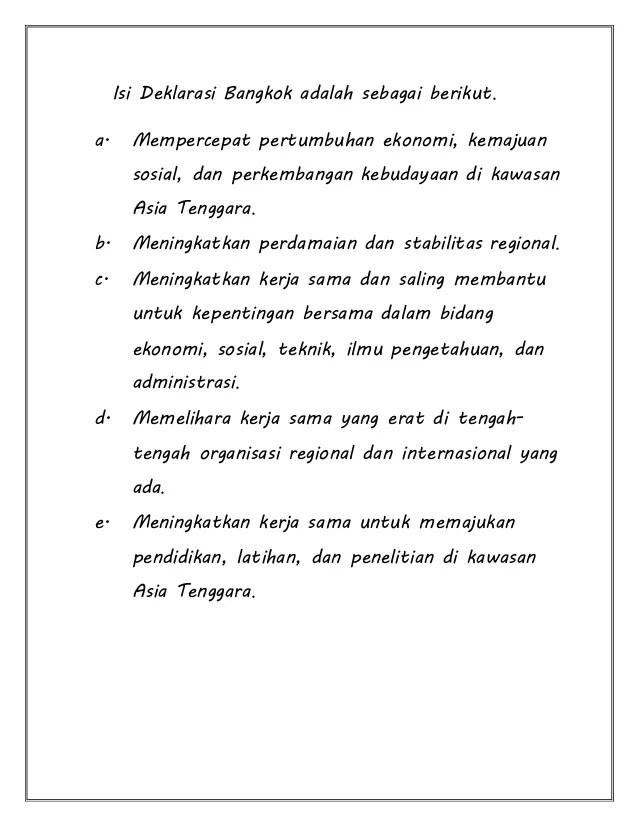 Isi Deklarasi Bangkok : deklarasi, bangkok, Materi, ASEAN, Kelas