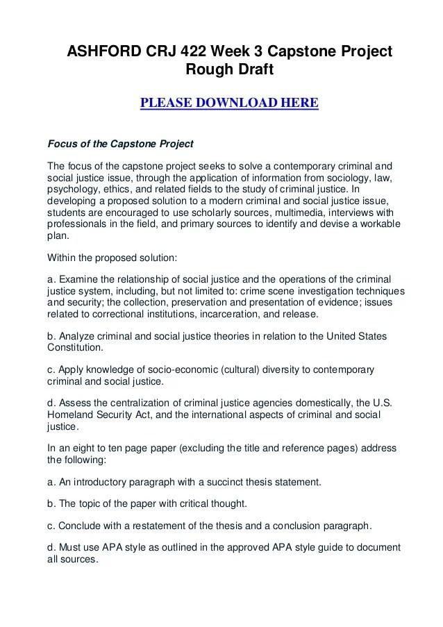 Ashford Crj 422 Week 3 Capstone Project Rough Draft