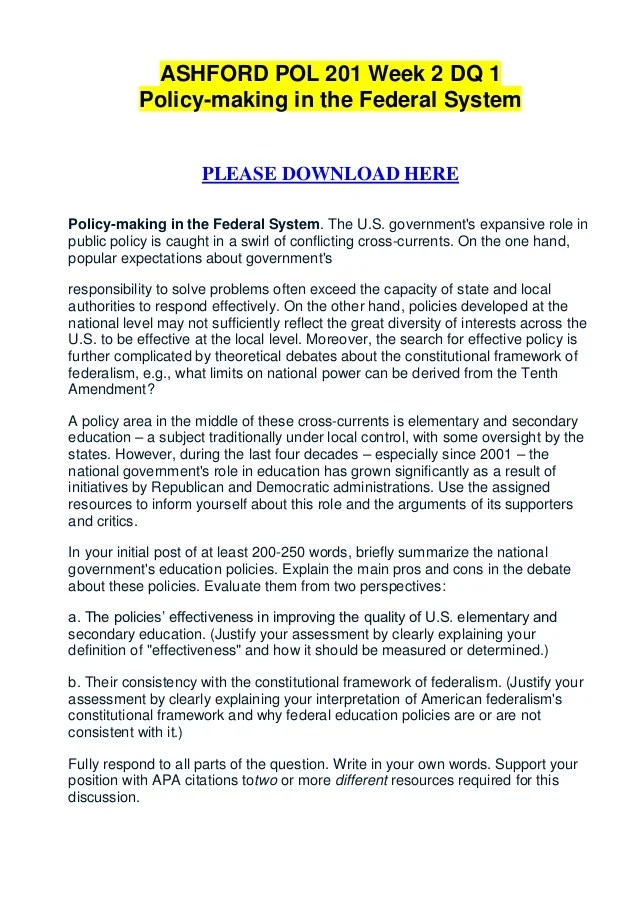 Ashford pol 201 week 2 dq 1 policy making in the federal system