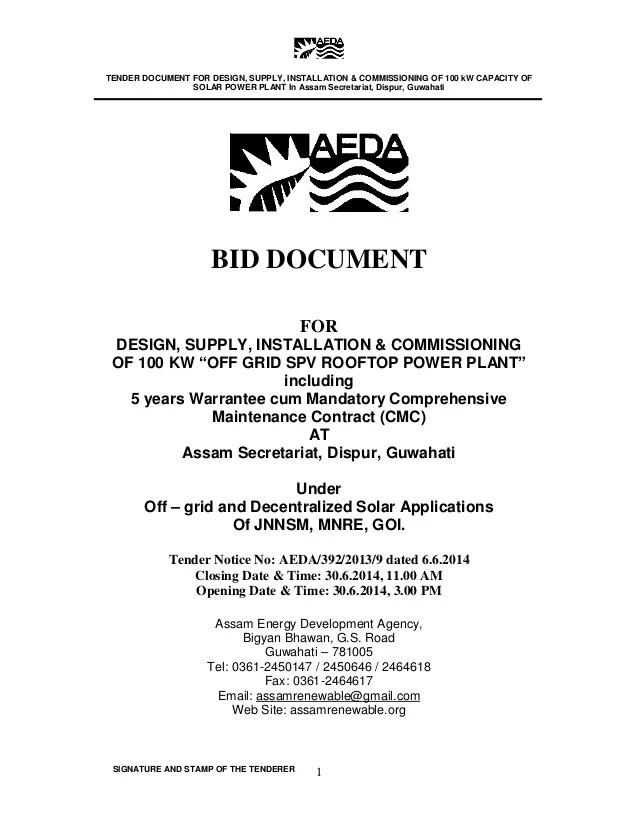 Bid Document for Solar Plant in Assam