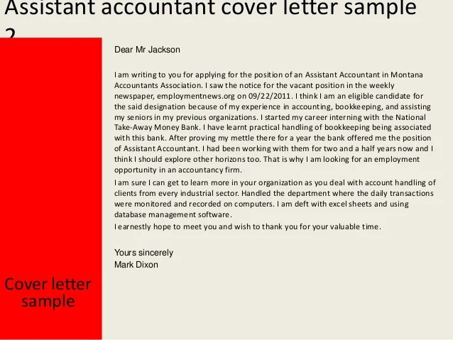 Cover Letter Accountant Assistant