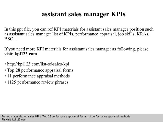 Assistant sales manager kpis
