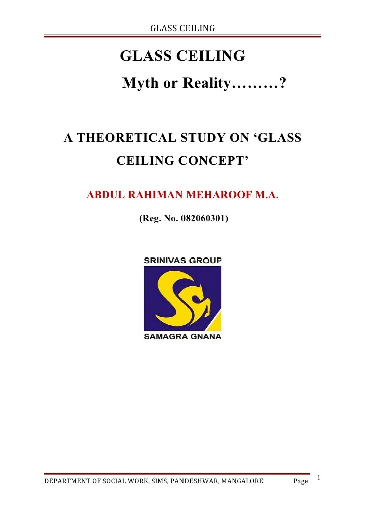 A Theoretical Study On Glass Ceiling Concept