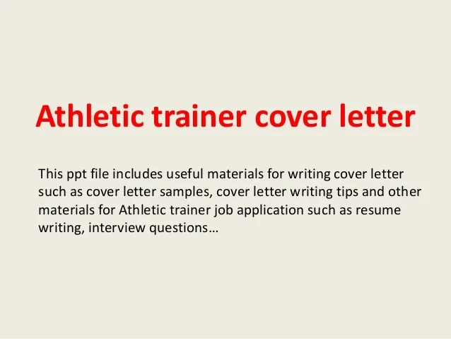 athletic training cover letter