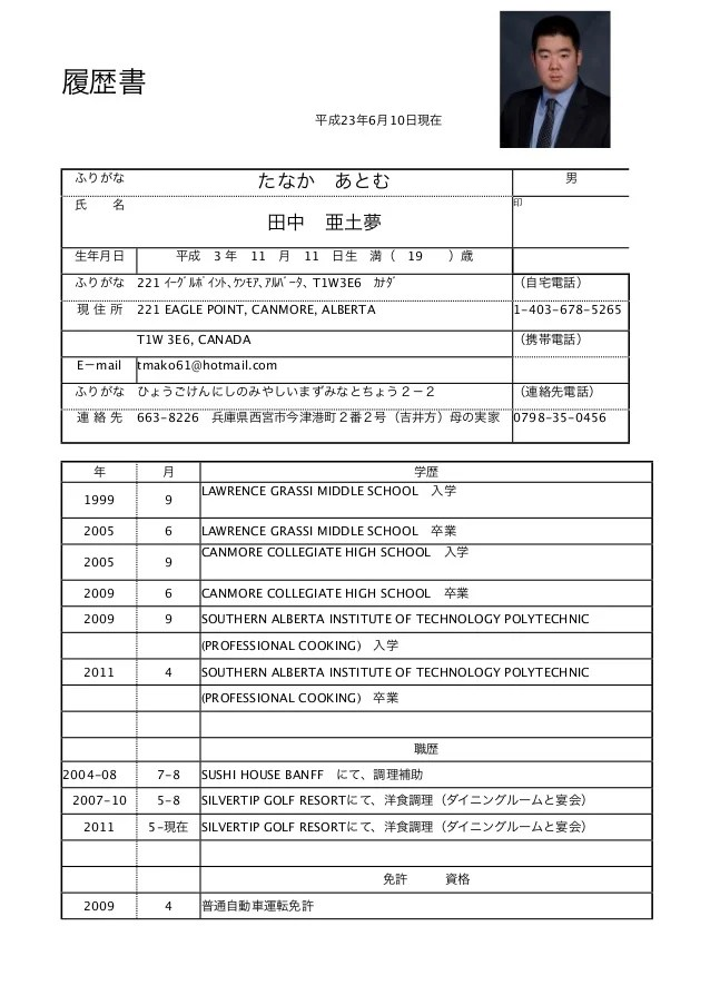 Atomu Tanaka Japanese Resume