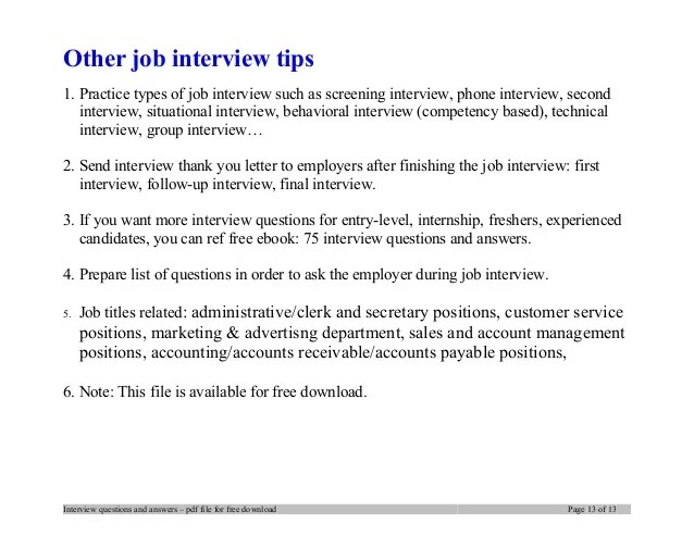 Entry Level Job Interview Questions And Answers - Resume