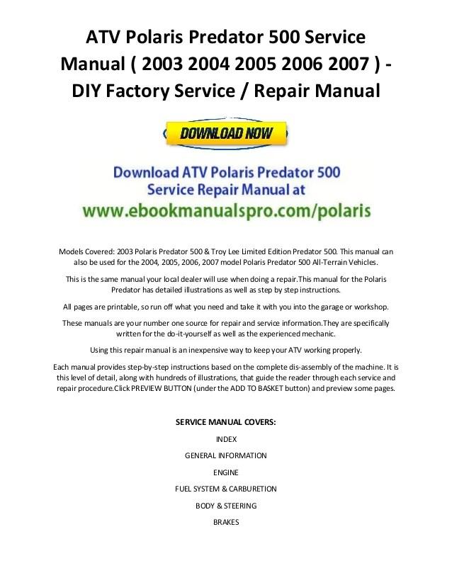 ATV Polaris Predator 500 Service Manual ( 2003 2004 2005