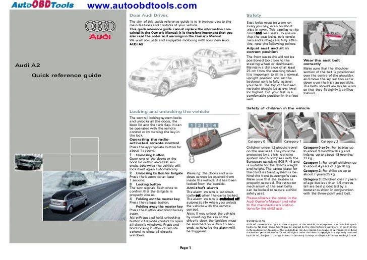 Audi a2 quick reference guide diagram user manual