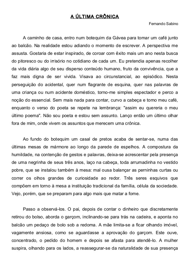 A Ultima Cronica Texto E Questoes