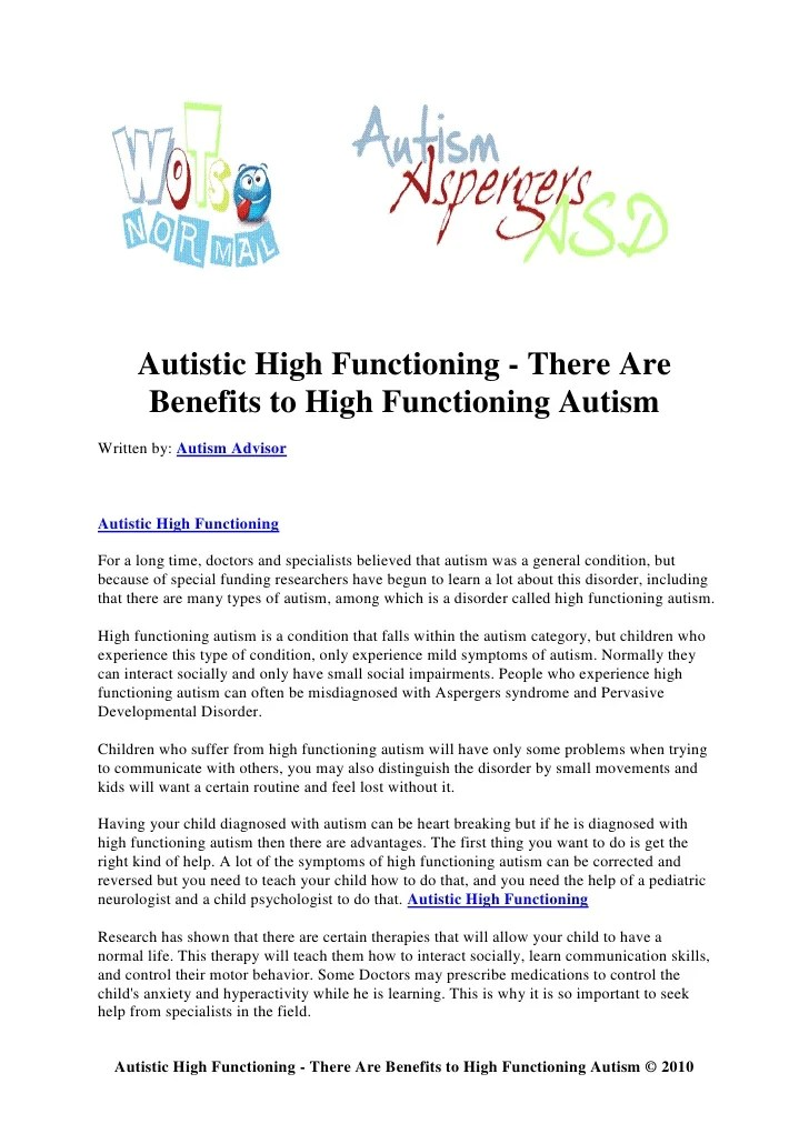 Autistic high functioning there are benefits to high functioning au…