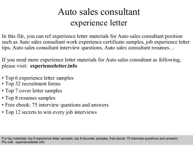 Auto Sales Consultant Experience Letter