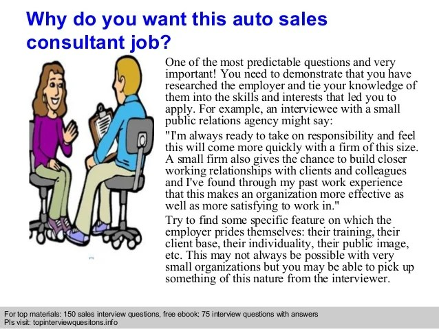 Auto sales consultant interview questions and answers