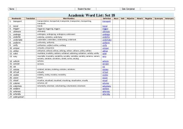 Academic Word List AWL Three Workbooks for Pre