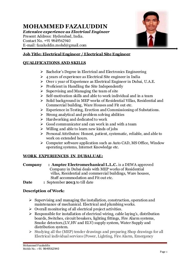B Tech Electrical Engineer Cv