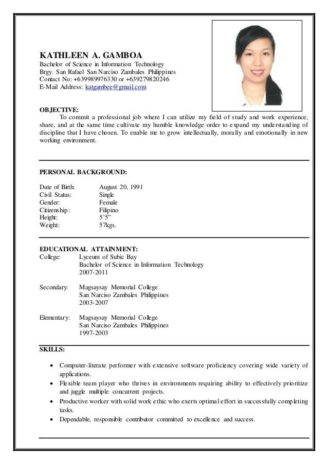 objective in resume for first job