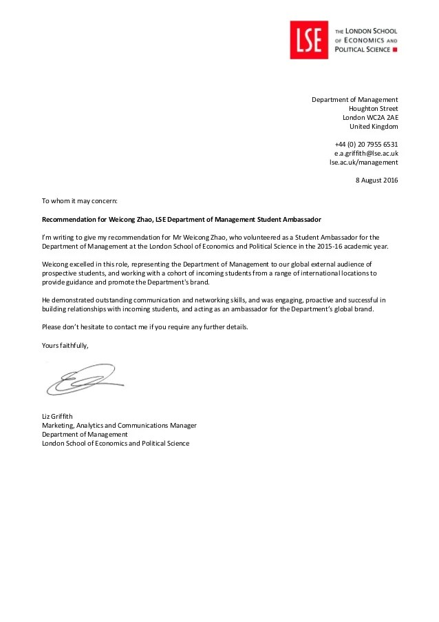 DoM Student Ambassador Recommendation Letter Weicong Zhao
