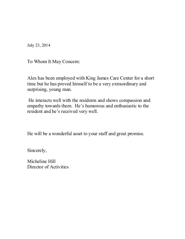 brief letter of recommendation