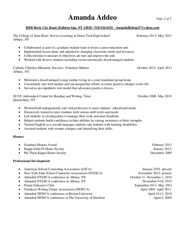 resume for graduate school counseling