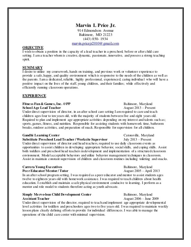 Child Care Resume. Daycare Resume Examples Sample Daycare Resume