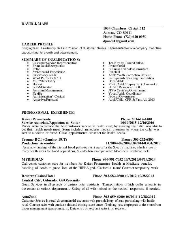 resume qualifications customer service examples
