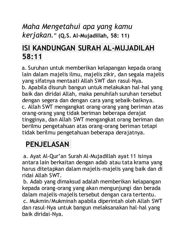 Kandungan Surah Al Mujadalah Ayat 11 : kandungan, surah, mujadalah