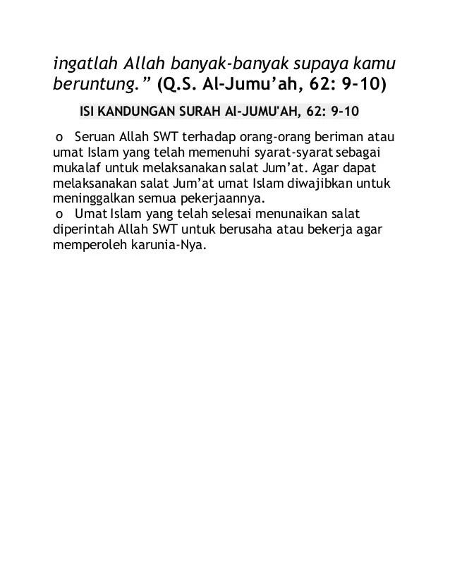 Qs Al Jumu'ah Ayat 10 : jumu'ah