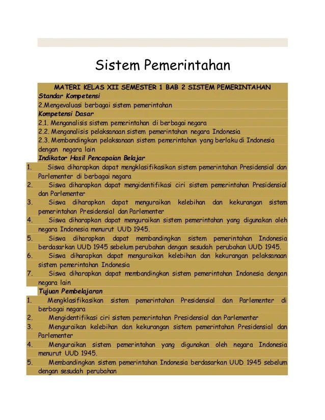 Ciri Ciri Sistem Pemerintahan Parlementer Dan Presidensial : sistem, pemerintahan, parlementer, presidensial, Kelas