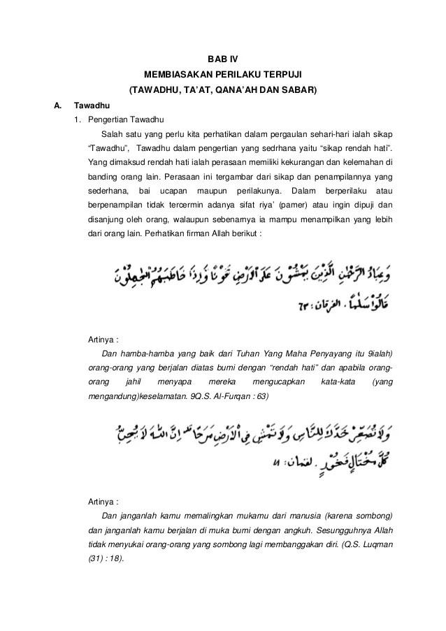 Dalil Qanaah Dan Tasamuh : dalil, qanaah, tasamuh, Tawadhu,, Ta'at,, Qana'ah, Sabar