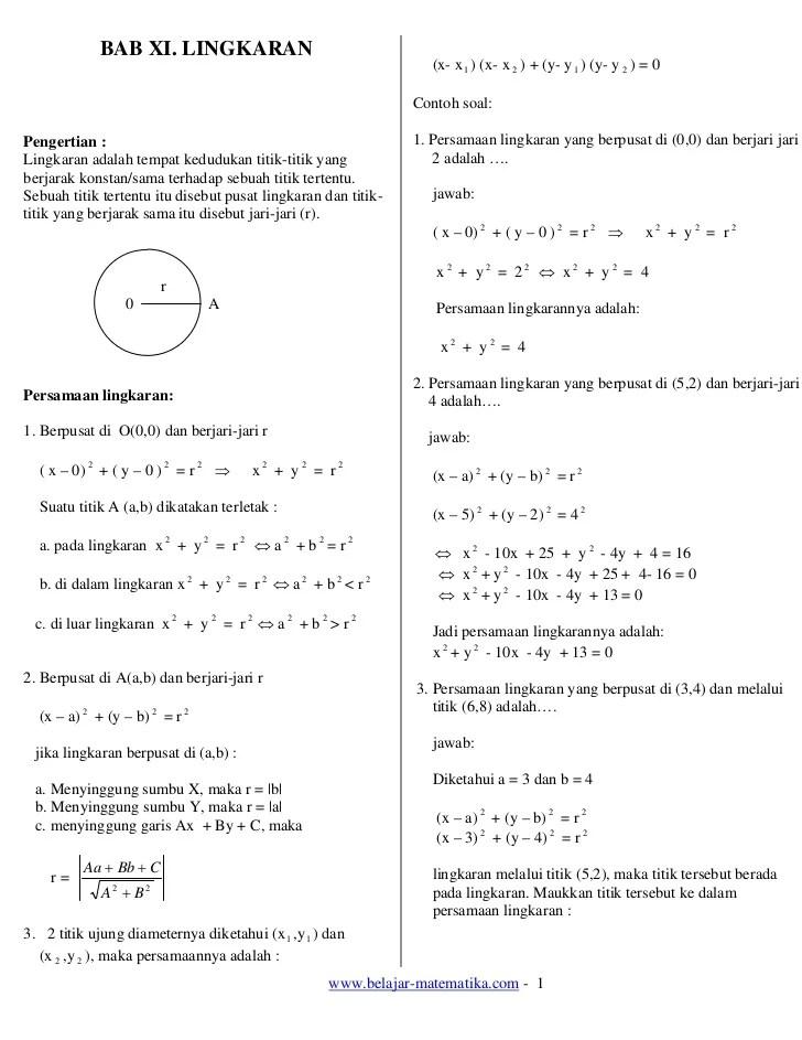 Soal Persamaan Lingkaran : persamaan, lingkaran, Lingkaran