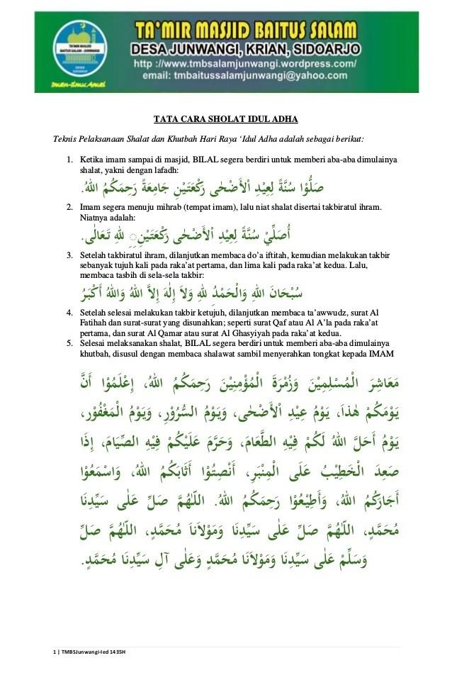 Bacaan Sholat Idul Fitri: Niat, Tata Cara dan Doa Lengkap