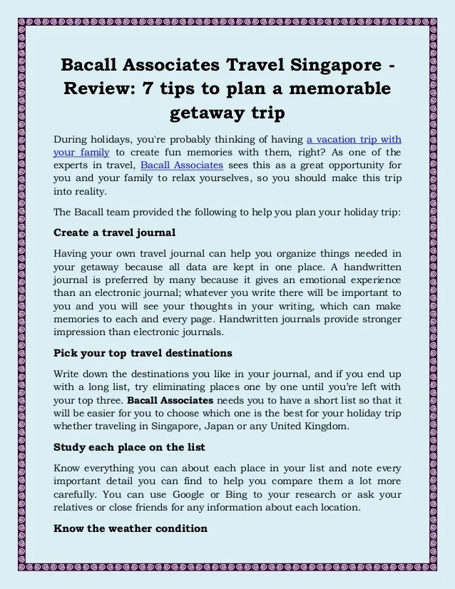 Bacall Associates Travel Singapore Review, 7 Tips To Plan