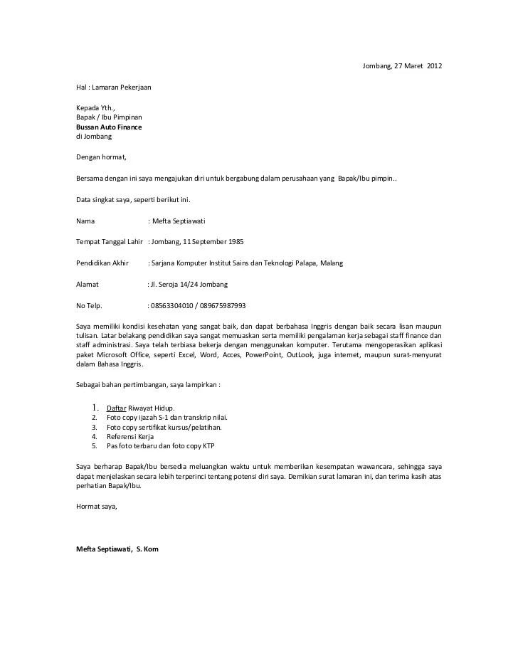 Contoh Surat Lamaran Kerja Jadi Spg Cute766