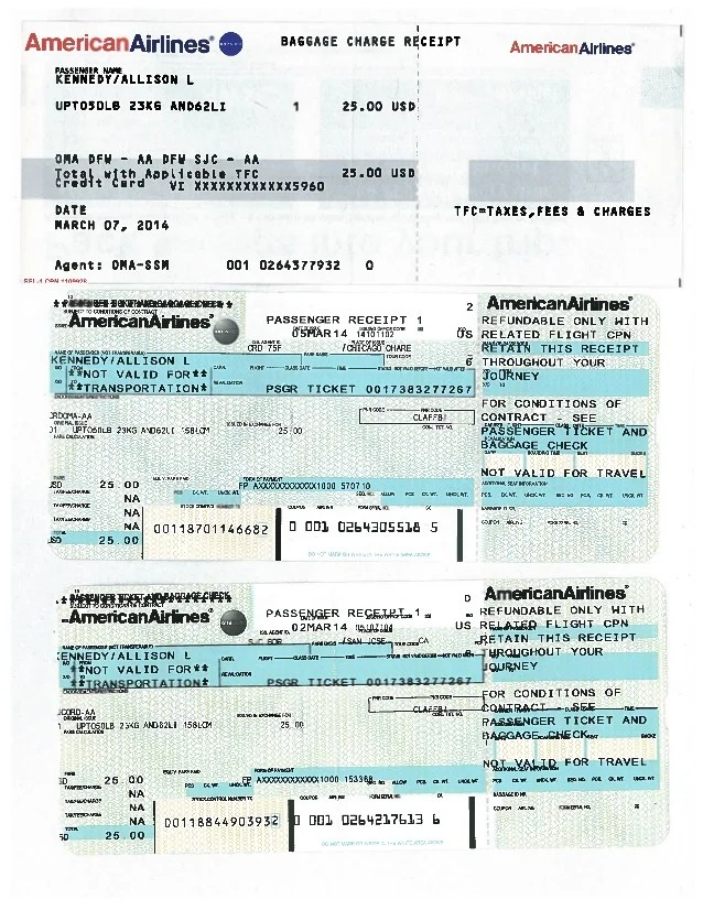 American Airlines Receipt : american, airlines, receipt, Baggage, Receipts