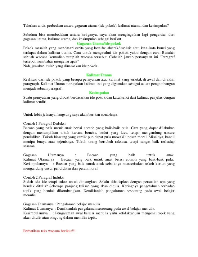 Apakah Ide Pokok Bacaan Selalu Berada Di Awal Paragraf : apakah, pokok, bacaan, selalu, berada, paragraf, Bahasa, Indonesia