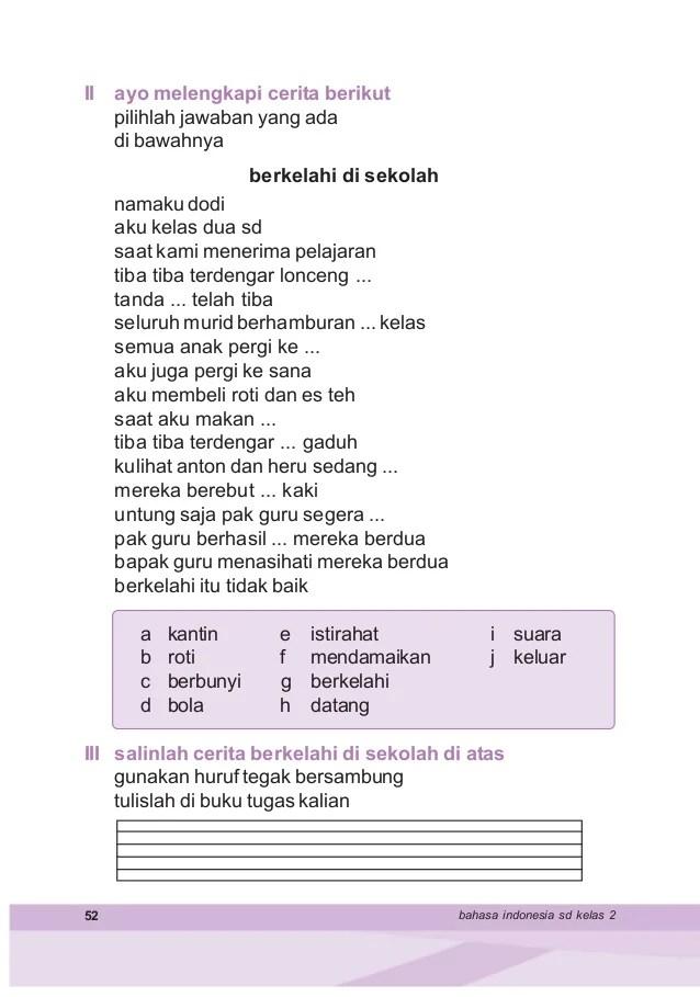 Berikut ini kunci jawaban soal subtema 1 pembelajaran 1 halaman 2 4 5 6 7 8 9 10 12 13 14 15 16 buku tematik tema 1 kelas 6 sd. Contoh Teks Pendek Bahasa Indonesia Kelas 2 Sd - Aneka