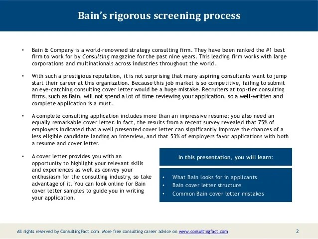 consulting cover letter bain