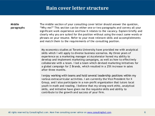 Bain Cover Letter Sample