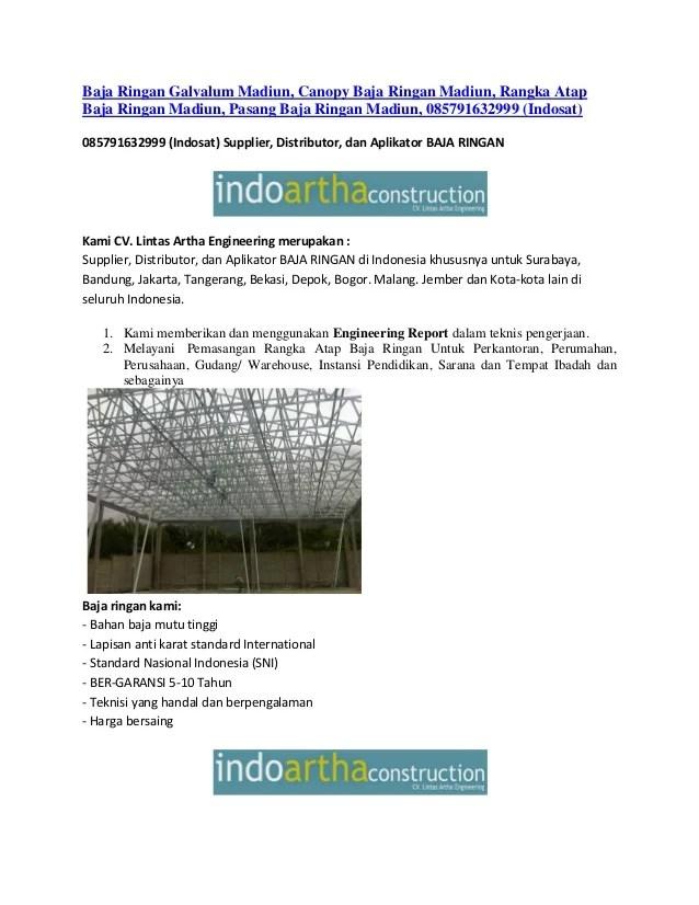 harga baja ringan madiun galvalum canopy rangka atap b