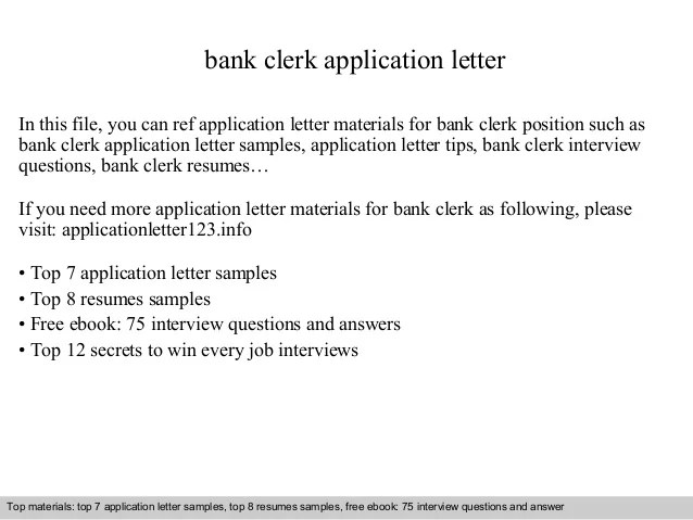 Letter Of Application Bank Clerk | Cover Letter Example With Cv