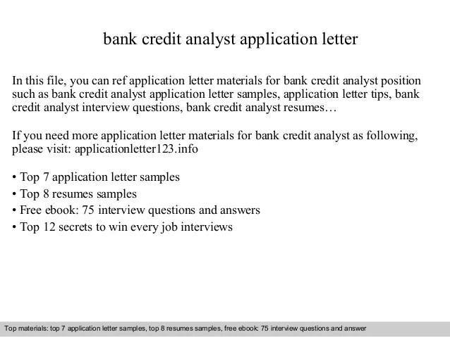 Bank Credit Analyst Application Letter