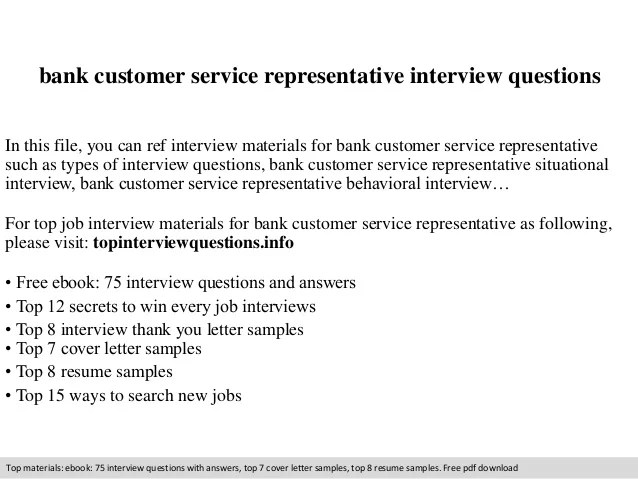 Bank Customer Service Representative Interview Questions  Customer Service Interview Questions