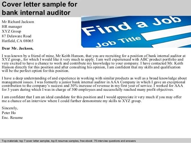 Sample Cover Letter For Bank Internal Auditor