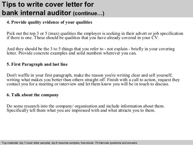 Bank internal auditor cover letter
