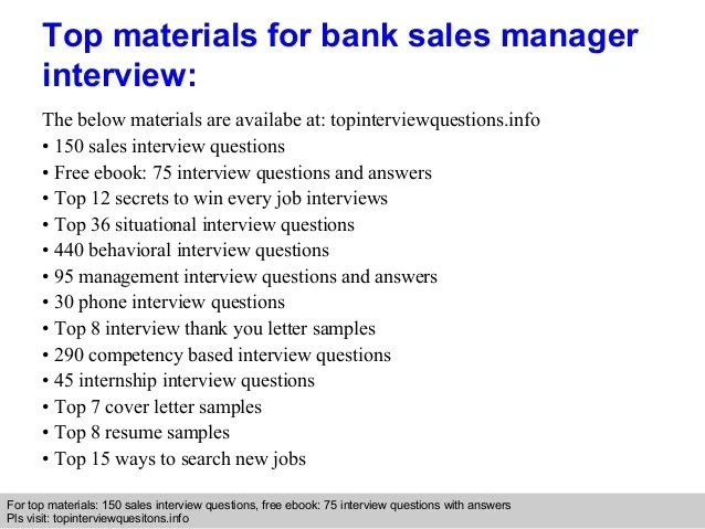 Bank sales manager interview questions and answers